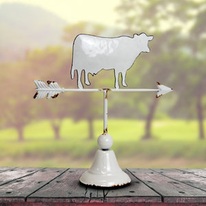 White Metal Cow Tabletop Weather Vane, 15 Inch