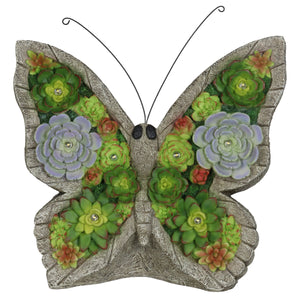 Solar Butterfly Succulent Marquee Garden Statue, 12 Inch