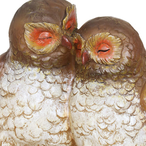Solar Snuggling Owls on Stump Hand Painted Garden Statue,  4 by 9 inches