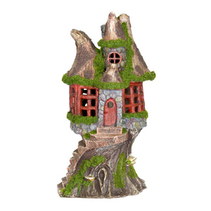 Exhart Solar Step Stone Cottage Fairy House Garden Statue, 12 Inch