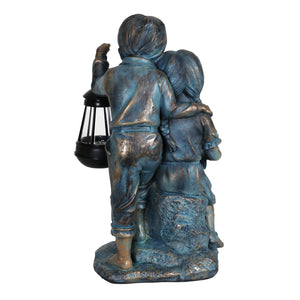 Solar Faux Bronze Boy and Girl Statue, 9 by 15 Inches
