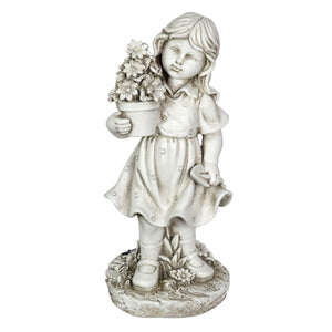 Solar Girl with a Flower Pot Garden Statue, 18 Inch