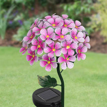 Solar Metal Hydrangea Garden Stake in Pink with Twenty Six LED lights, 7 by 21 Inches