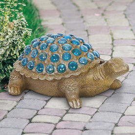 Turtle with Blue Accent Beads Garden Statue, 5 by 12 Inch