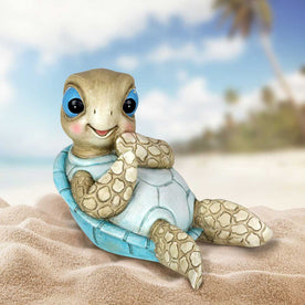 Hand Painted Beach Turtle Sunning His Belly Décor, 7.5 by 6 Inches