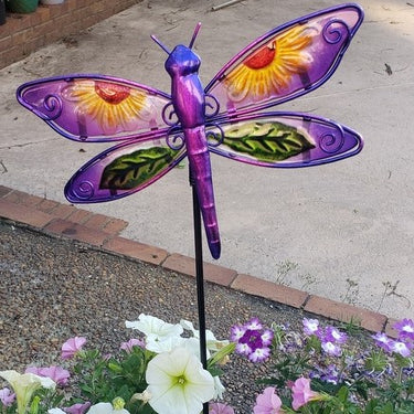 Set of 4 Painted Glass and Metal Butterfly and Dragonfly Garden Stakes, 9 Inch