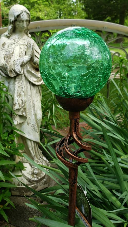 Solar Green Crackle Glass Ball Garden Stake with Metal Finial Detail, 4 by 31 Inches