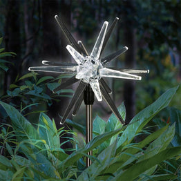 Solar Acrylic Star Garden Stake with White LED light, 6 by 28 inches