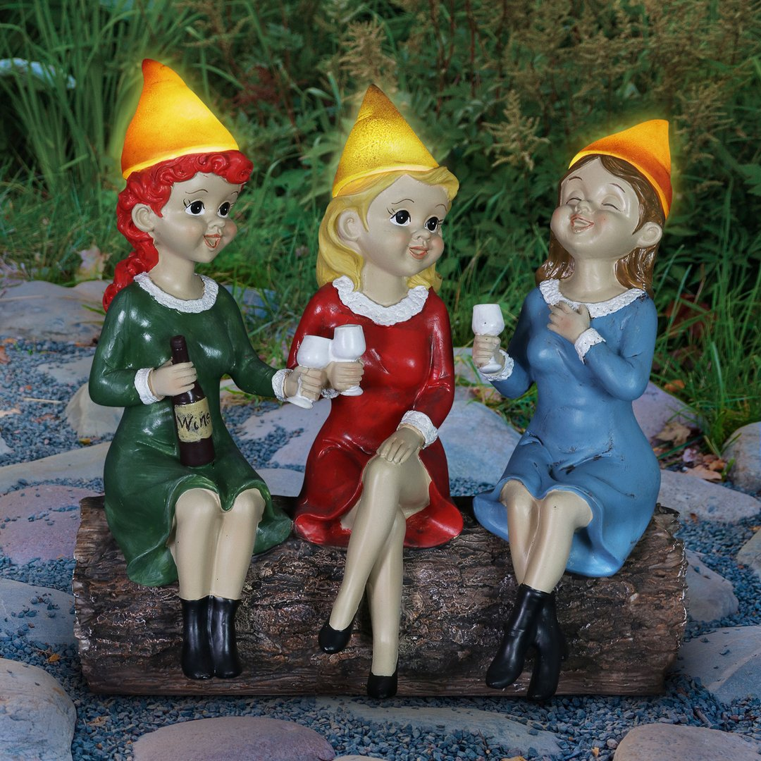 Good Time Gal Drinking Wine Gnomes By Exhart