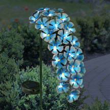 Solar Metal Hanging Flower Garden Stake in Turquoise with Twenty Four LED lights, 11 by 28 Inches