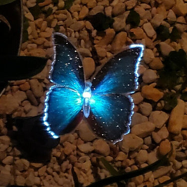 Solar Fiber Optic Butterfly Garden Stake Six Piece Set, 5 by 26 Inches