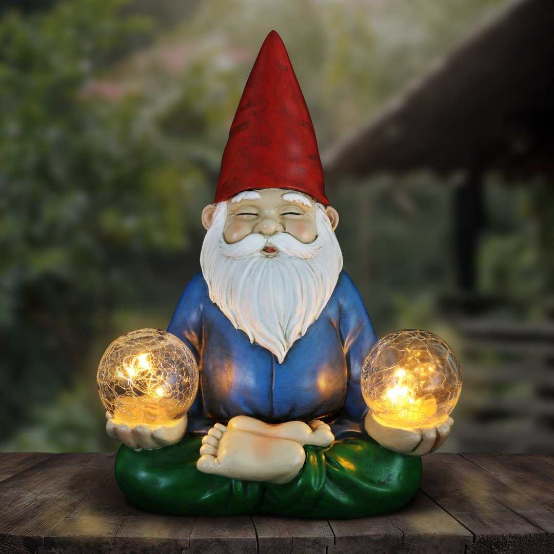 Good Time Solar Gnamaste Meditating Yoga Gnome with Two Crackle Glass Firefly Balls Garden Statue,