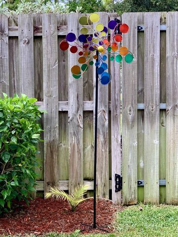 Giant Psychedelic Multicolor Wind Spinner Garden Stake, 24 by 83 Inches
