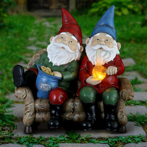 Good Time Bud Buddies Gnomes Smoking Marijuana with Light Up LEDs on a Battery Timer, Indoor or Outdoor, 10 Inches Tall
