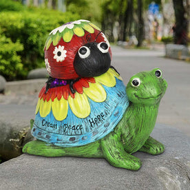 Colorful Garden Turtle and Ladybug Statue with Message of Dream Peace and Love, 9 Inch