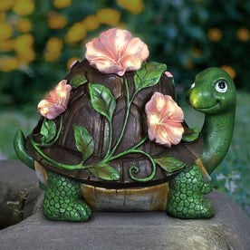 Solar Turtle with Pink Flowers Garden Statue, 8 inch