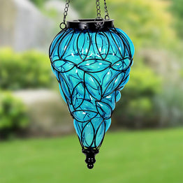 Solar Tear Shaped Glass and Metal Hanging Lantern in Blue with 15 LED Fairy Firefly String Lights, 7 by 24 Inches