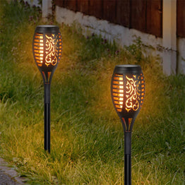 Set of 4 Solar Dancing Flame Torch Garden Stakes- Small, 3 inches by 20 Inches