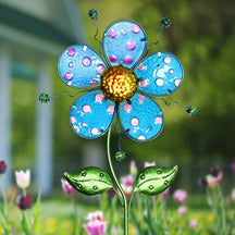 Whimsical Blue Flower Garden Stake Made of glass and metal, 11 by 36 Inches