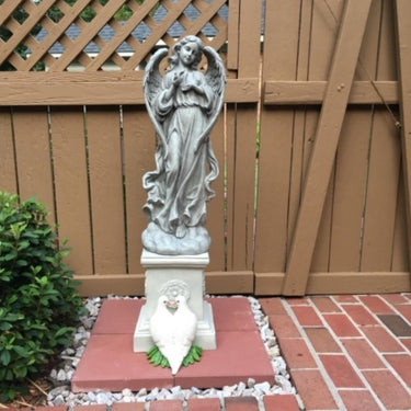 Heavenly Angel Garden Statue in a Natural Resin Finish, 27 Inch