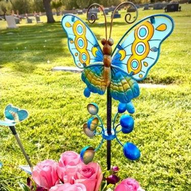 Hand Painted Butterfly Wind Spinner Garden Stake in Teal, 9 by 38 Inches