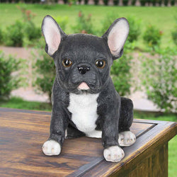 Hand Painted Black French Bulldog Puppy Statuary, 7 Inch