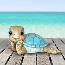 Hand Painted Sunning Beach Turtle Décor, 9.5 by 5.5 Inches