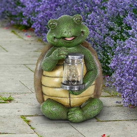 Solar Turtle Garden Statuary with LED Firefly Jar, 10 Inches tall