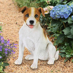 Hand Painted Jack Russell Statuary, 12.5 Inch