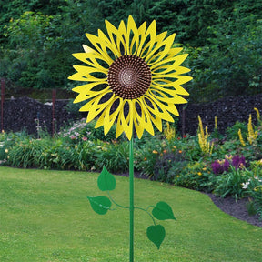 Giant Metal Kinetic Yellow Sunflower Dual Spinning Garden Stake, 24 by 72 Inches