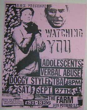 Adolescents Verbal Abuse The Farm Concert Poster Punk Flyer