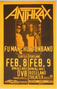 Anthrax Fu Manch Unband Concert Poster