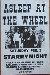 Asleep at the Wheel 2/2/85 Concert Poster