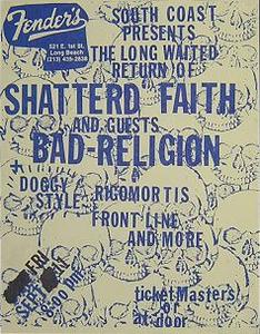 Bad Religion Shattered Faith 1987 Punk Concert Poster Flyer