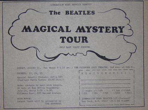 Beatles 1968 Fillmore East Magical Mystery Tour Movie Poster Type Ad