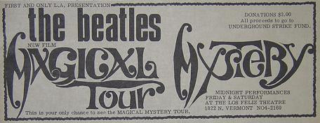 Beatles 1968 Magical Mystery Tour WEST COAST Movie Poster Type Ad