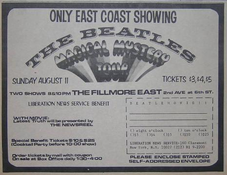 Beatles Fillmore East 1968 Magical Mystery Tour Movie Poster Type Ad