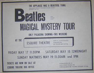 Beatles Magical Mystery Tour 1968 LA Film Movie Poster Type Ad
