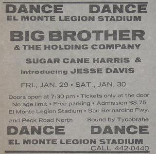 Big Brother and the Holding Company El Monte Concert Poster Type Ad