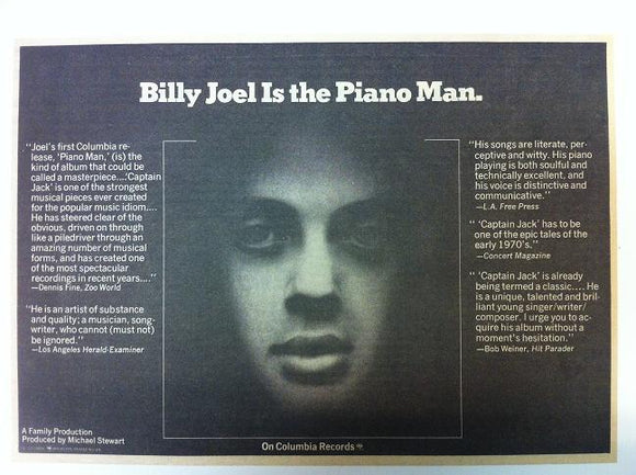 Billy Joel Piano Man Album Promotional Poster Type Newspaper Ad