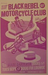 Black rebel Motorcycle Club Mark Gardener Concert Poster
