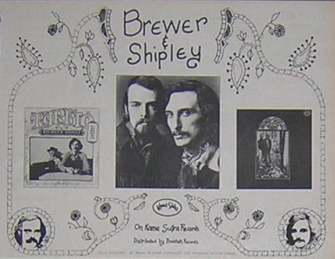 Brewer and Shipley Jerry Garcia Rare Vintage 1971 LP Promo Poster Type Ad