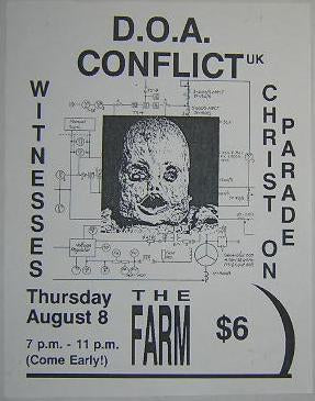DOA Conflict UK Farm Concert Poster Punk Flyer
