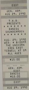 Danzig Soundgarden Rare 1990 Unused Punk Concert Ticket