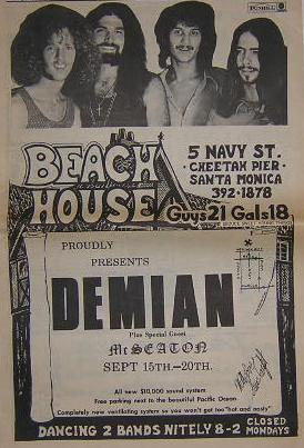 Demian 1970 Beach House Psych Concert Poster Type Ad