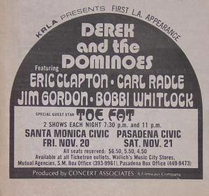 Derek and The Dominoes 1970 Concert Poster Type Ad