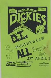Dickies ALL 1989 Punk Concert Poster Flyer