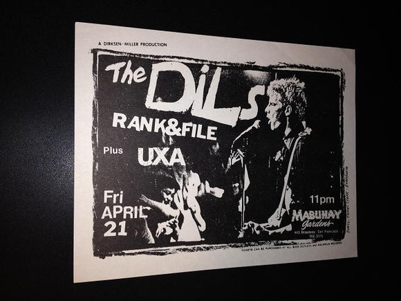 Dils Rank and File Nuns UXA Mabuhay Gardens Punk New Wave Concert Flyer