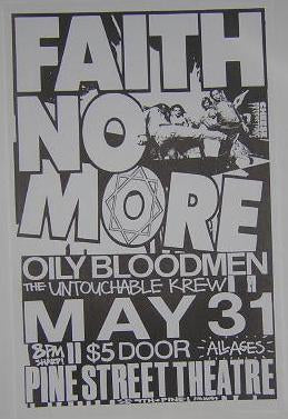 Faith No More 1987 Mike Patton Mr Bungle Concert Poster