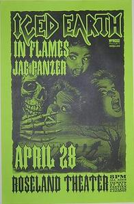 Iced Earth In Flames Metal Portland Concert Poster